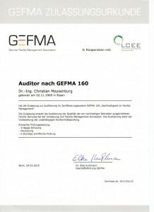 Auditorenurkunde GEFMA 160 klein
