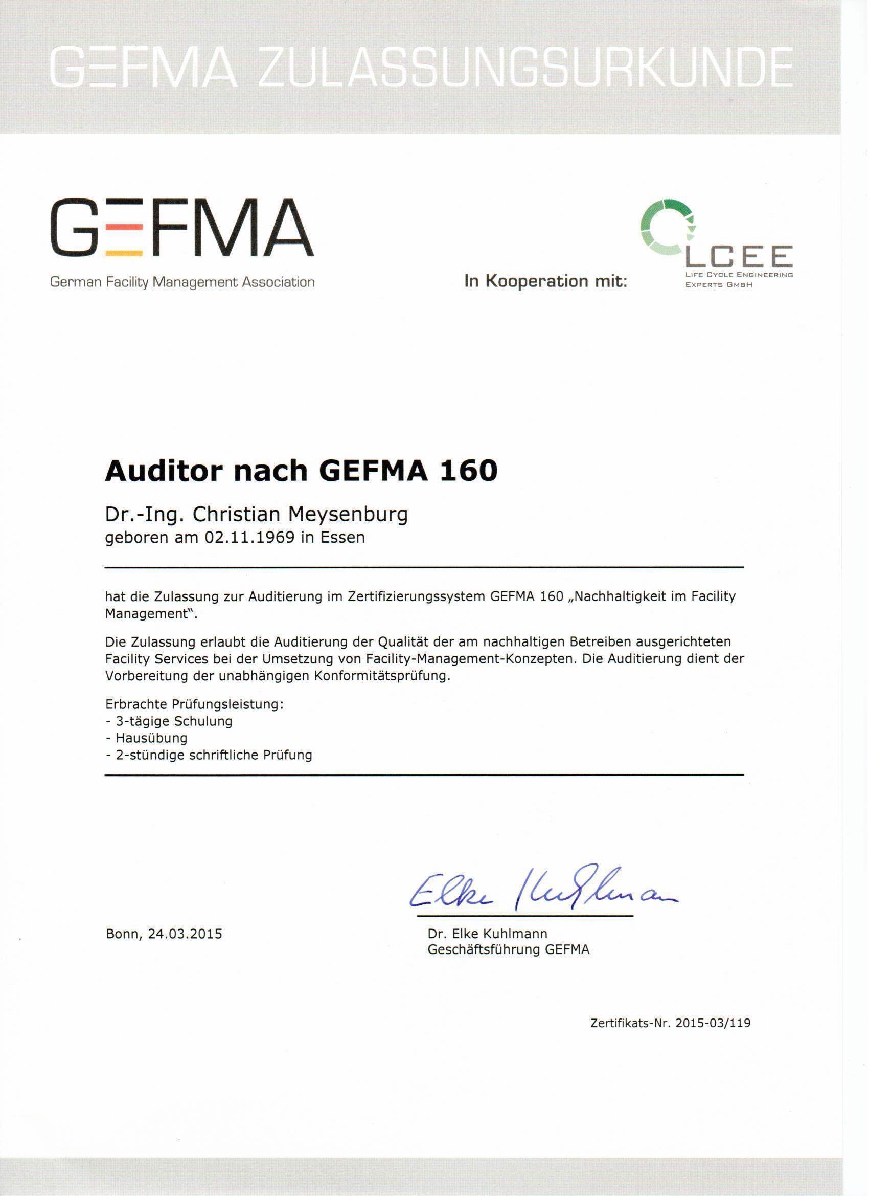 Auditorenurkunde GEFMA 160